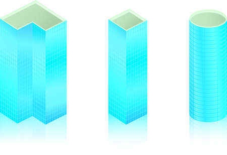 Blue colored skyscraper icons with reflection on white Stock Vector - 16563688