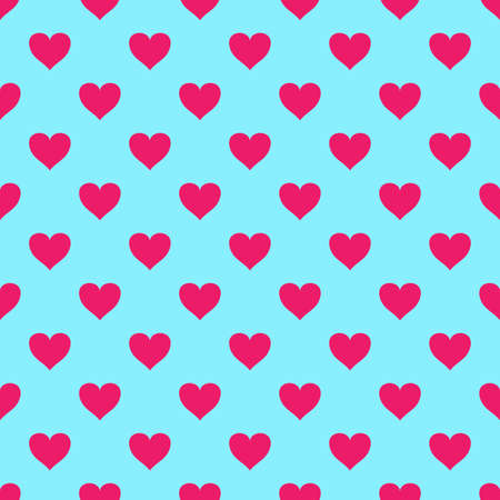 seamless pattern with valentine hearts on blue