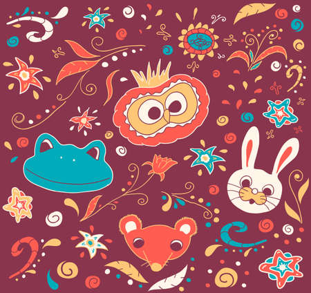 Floral and animal doodles. background Vector