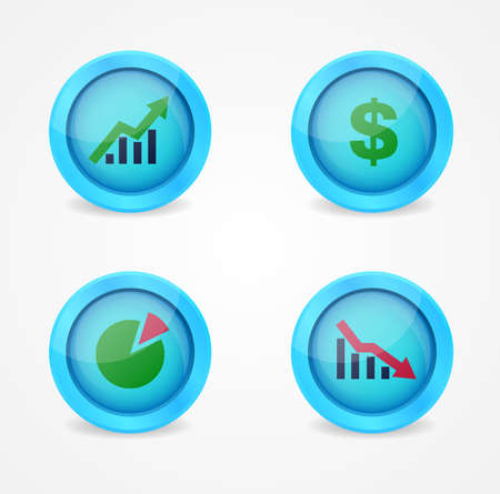 Financial signs on glossy icons icons Stock Vector - 18084611