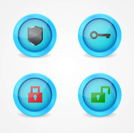 Set of glossy security icons Stock Vector - 18144216