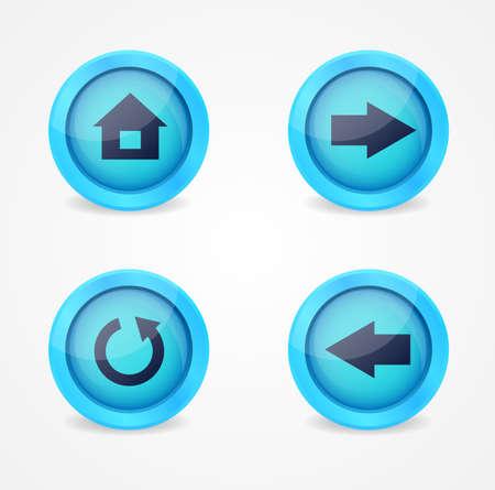 flecha derecha: Conjunto de iconos brillantes navegador