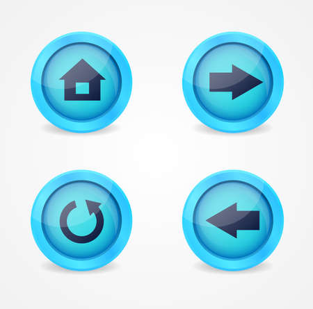back button: Set of glossy browser icons