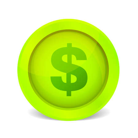 green glossy dollar icon on white Vector