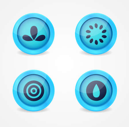 Set of glossy miscellaneous icons. Vector