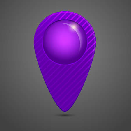 Vector violet round glossy map pointer Vector