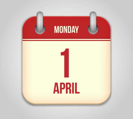 Vector calendar apps icon. 1 april fool's day Stock Vector - 18291963