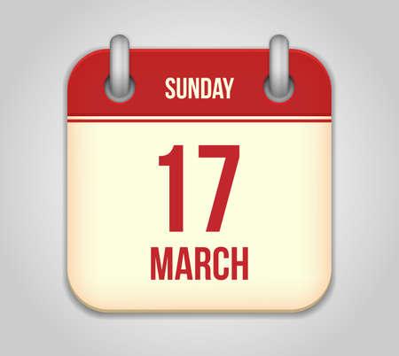 Vector calendar apps icon. 17 march saint Patrick's day Stock Vector - 18291967