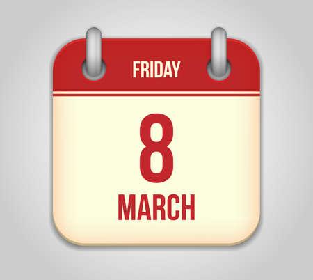 Vector calendar apps icon.  8 march international women's day Stock Vector - 18291966
