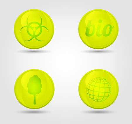Eco vector glossy icons set Stock Vector - 18291856