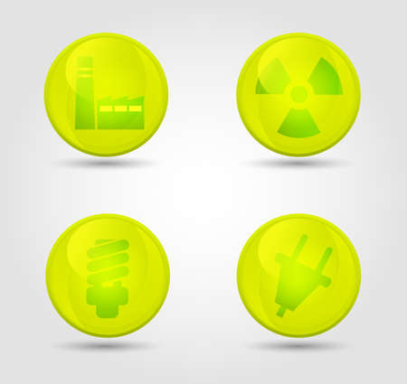 Eco vector glossy icons set Stock Vector - 18291974