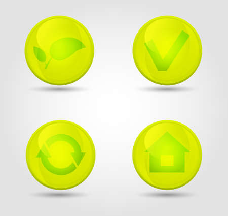 Eco vector glossy icons set Stock Vector - 18291844