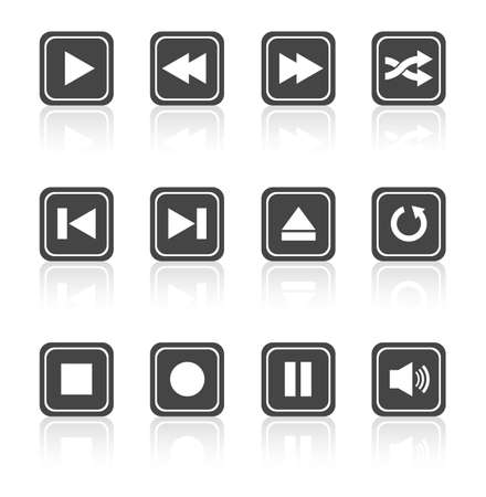 button art: Media player square buttons collection. Vector design elements