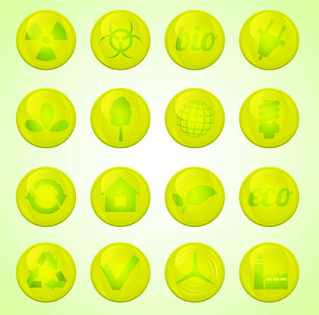 Environment vector glossy icons set Stock Vector - 18291851