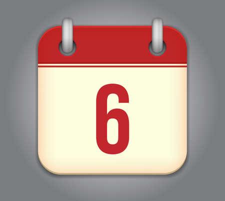 six months:  calendar app icon Illustration
