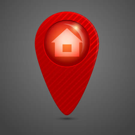 Vector red round glossy map pointer photo