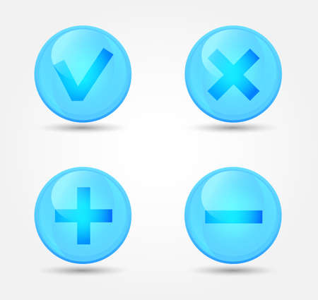 Set of glossy icons. Vector icons collection Vector