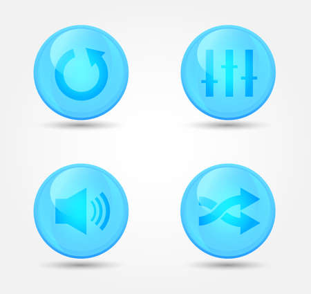Set of glossy media player icons. Vector icons Vector