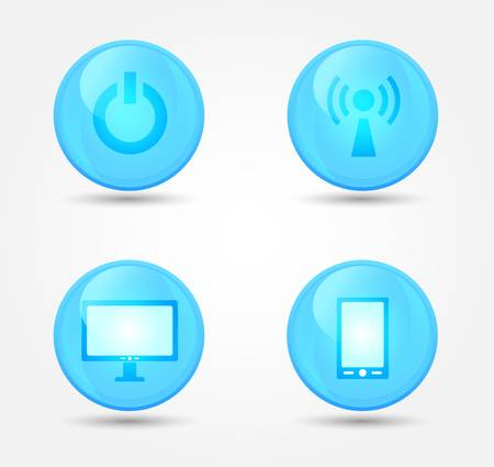 Set of glossy technology icons. Vector icons Stock Vector - 18573125