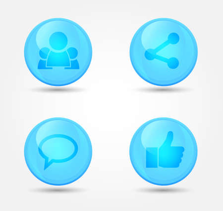 Set of glossy internet social icons. Vector icons Vector