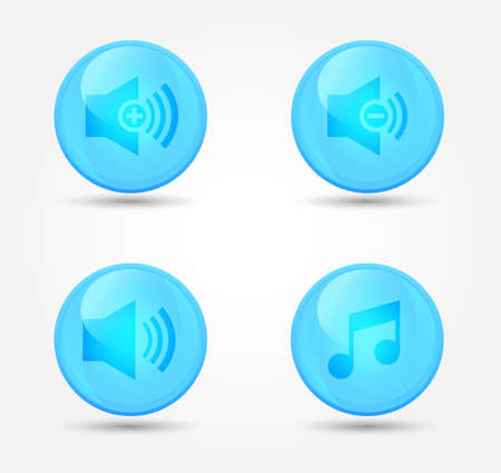 Set of glossy media player icons. Vector icons Stock Vector - 18573144
