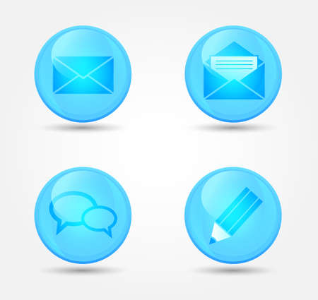 Set of glossy communication icons. Vector icons Stock Vector - 18563250
