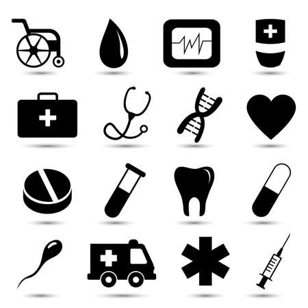 Vector set of medical icons on white background photo