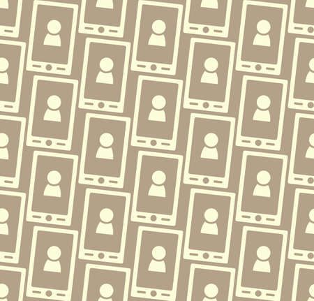 cdma: Seamless pattern with smartphone icon and people silhouette