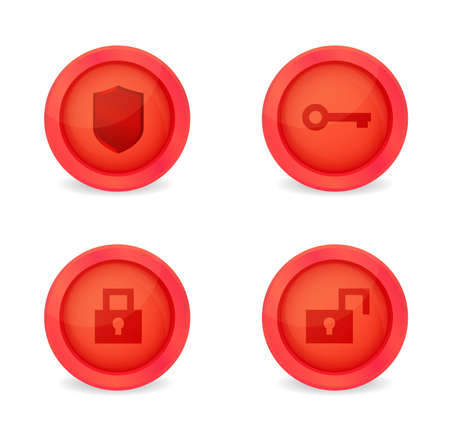Set of glossy security icons. Vector icons Vector