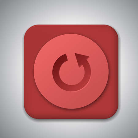 Red plastic repeat button. Vector icon with shadow Stock Vector - 19352281