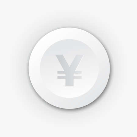 White plastic button with yen sign. Vector icon with shadow Vector