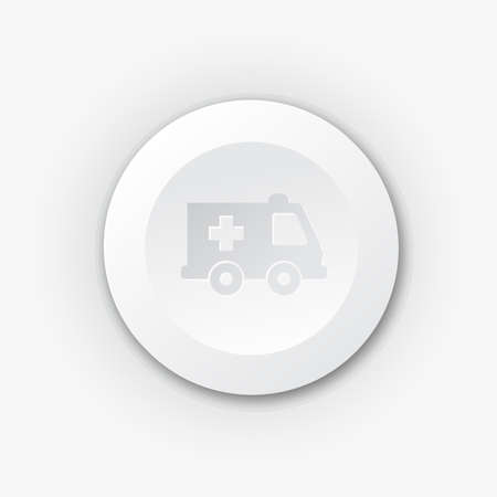 White plastic button with ambulance Vector