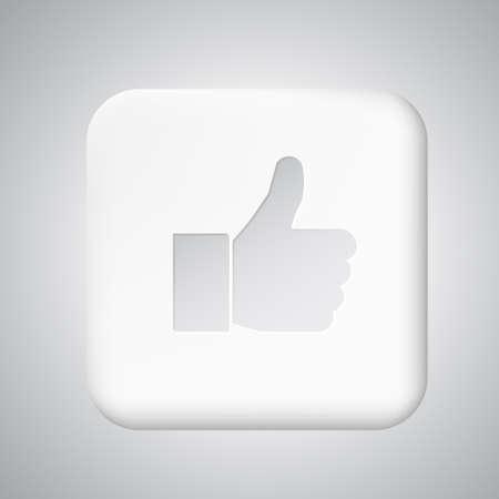 White plastic like button for app Vector