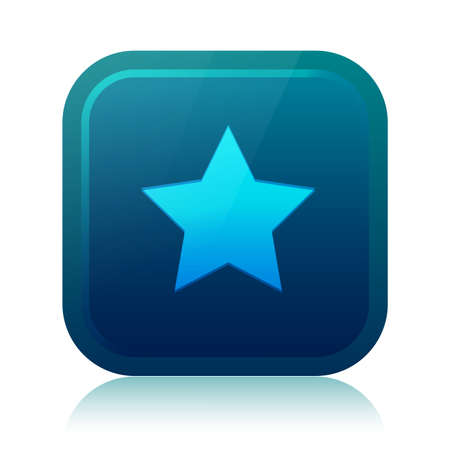 Rounded square star icon with reflection Vector