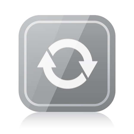 glossiness: Gray rounded square update icon with reflection Illustration