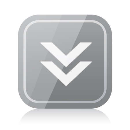 Gray rounded square download icon with reflection Vector