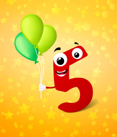 fifth: Fifth birthday greeting card. Vector background Illustration