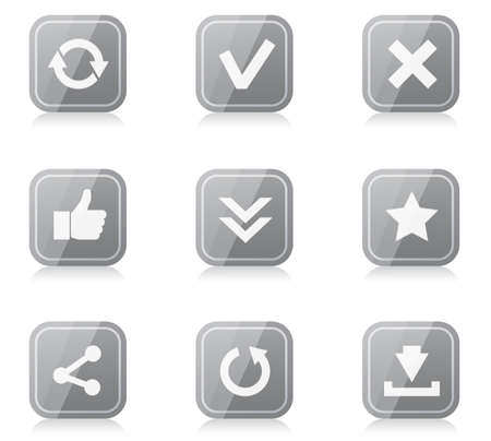 Set of rounded square internet icons with reflection Vector