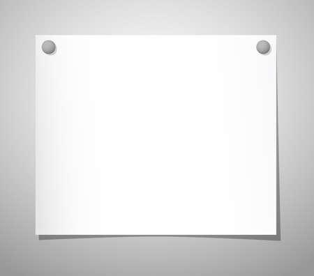 pushpins: Hoja de papel con chinchetas en gris