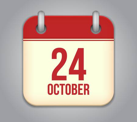 october calender: Vector octubre calendario icono de la aplicaci�n Vectores