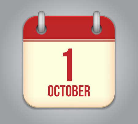 Vector oktober kalender app icoon