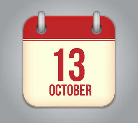 Vector October calendar app icon Vector