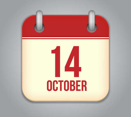 number 14: Vector October calendar app icon