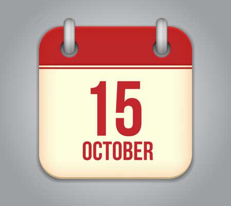 Vector October calendar app icon