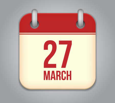 Vector calendar app icon. 27 March Stock Vector - 20181997