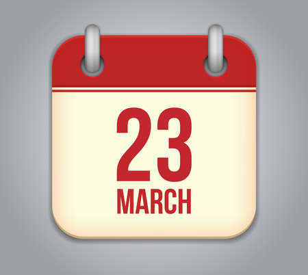 23: calendar app icon. 23 March Illustration