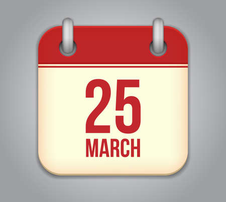 Vector calendar app icon. 25 March Vector