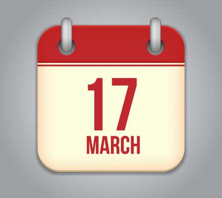 march 17: Vector calendar app icon. 17 March