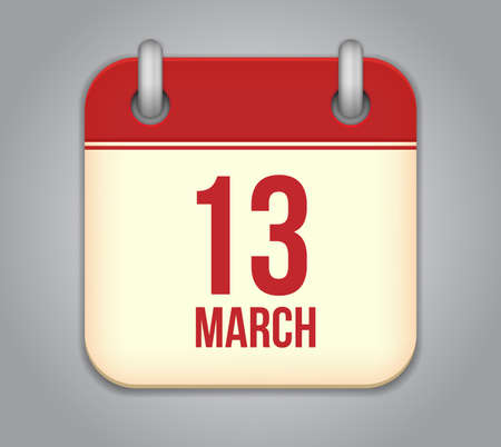 Vector calendar app icon. 13 March Vector