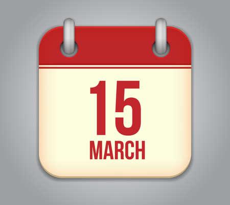 Vector calendar app icon. 15 March